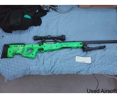 WELL MB01 WARRIOR MK3 L96 REPLICA SNIPER RIFLE IN GREEN + EXTRAS
