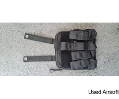 Molle Quadruple Pistol Mag Pouch with Back Pocket