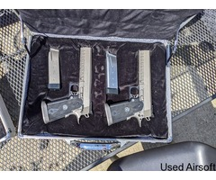 WA SV Infinity pistols - Silver ( x2 ) with 2 locking cases and 6 mags - Image 1