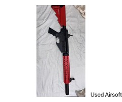 *MINT CONDITION* - Two Toned (RED/BLACK) CYMA AR47 Airsoft Rifle, RIS w/Suppressor 650