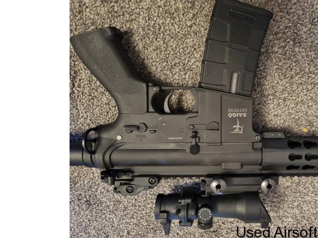 Barely used Saigo defense AEG W/ bag, mag and new acog sight - 3