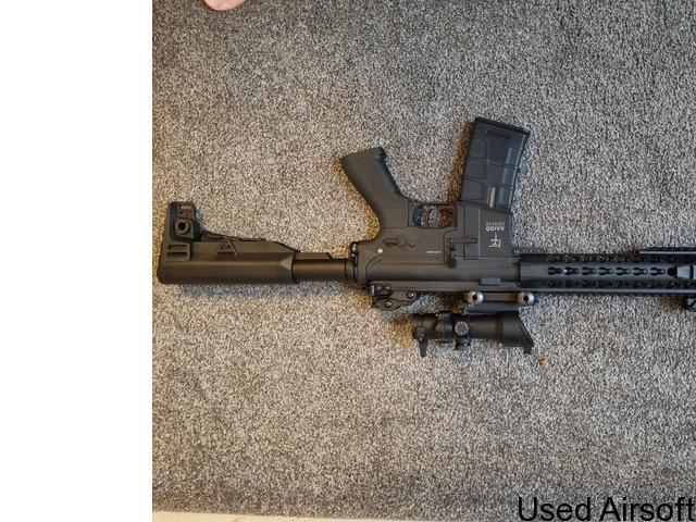 Barely used Saigo defense AEG W/ bag, mag and new acog sight - 4