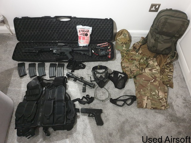 Classic Army Rifle (Mod M4) & Raven pistol set with red dot sight, scope, laser, bipod and more - 1