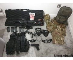 Classic Army Rifle (Mod M4) & Raven pistol set with red dot sight, scope, laser, bipod and more