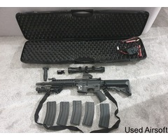 Classic Army Rifle (Mod M4) & Raven pistol set with red dot sight, scope, laser, bipod and more - Image 2